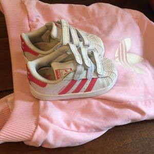 Toddler pink adidas  shoes , jacket& pants